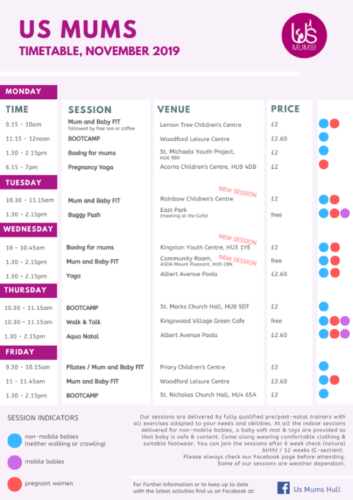 us mums hull november timetable