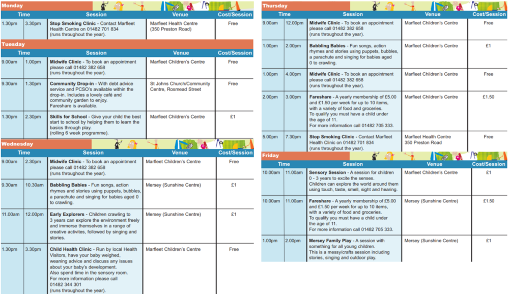 marfleet childrens centre hull timetable
