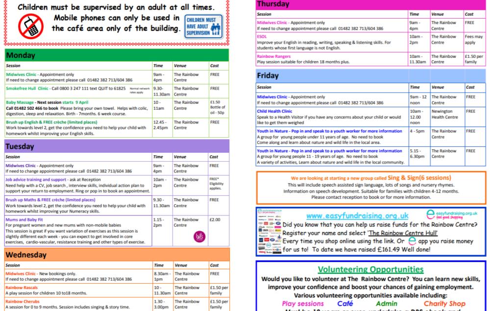wheeler childrens centre rainbow timetable
