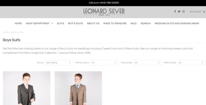 leonard silver boys suits