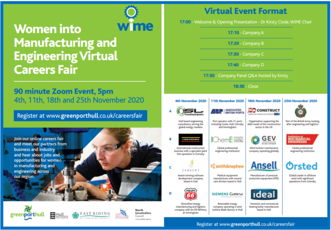WIME november 2020 school events, women in manufacturing and engineering in the humber region